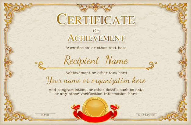 Cadre et bordure de certificat. Vecteur Premium
