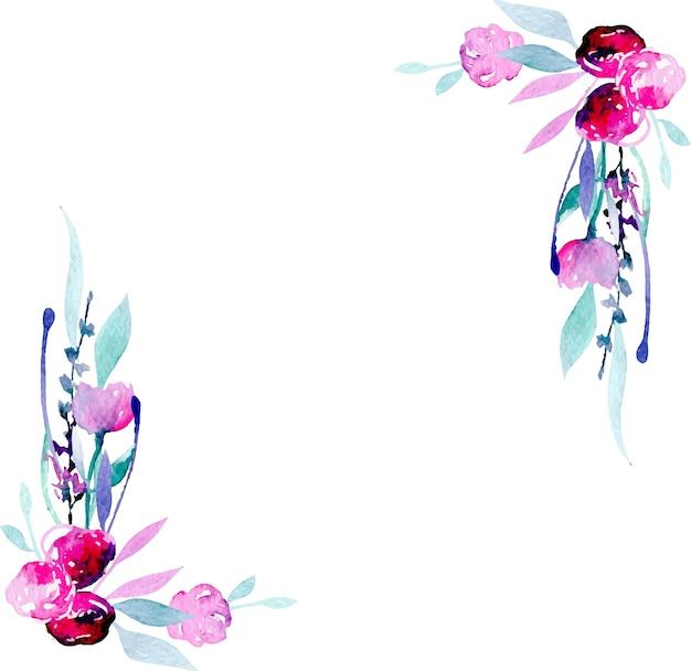 Cadre Bordure cadre de bordure de coin avec des fleurs sauvages roses aquarelles