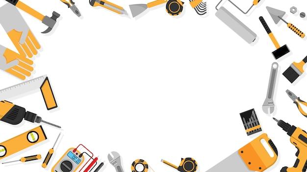 Cadre de bordure d'outils de couleur noir-jaune défini comme arrière-plan Vecteur Premium