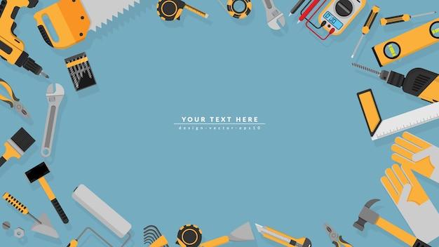 Cadre de bordure des outils jaunes sertie d'espace de copie vierge Vecteur Premium
