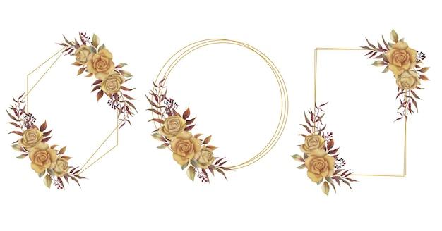 Cadre Avec Bouquet De Fleurs Aquarelle Pour Carte De Voeux Ou Décoration De Carte De Mariage Vecteur Premium