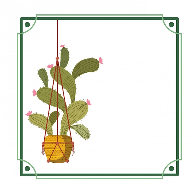 Cadre avec cactus sur l'icône de cintres en macramé Vecteur Premium