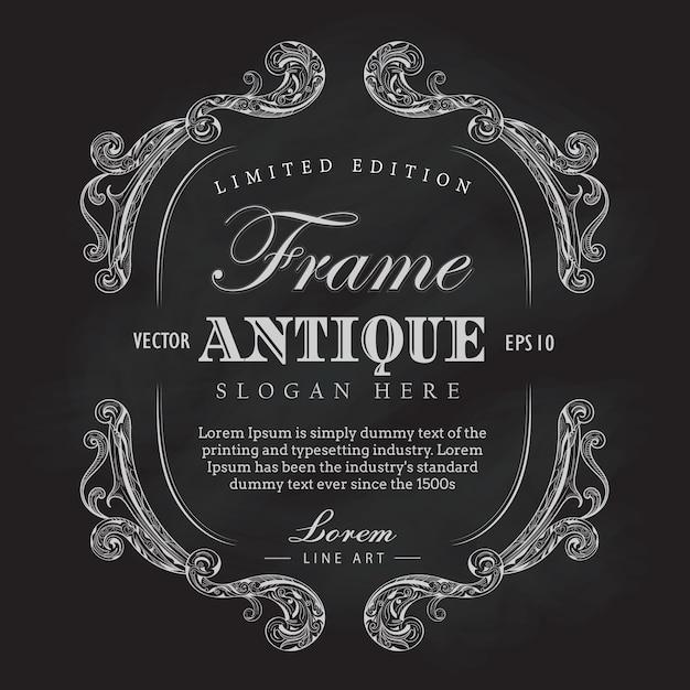 Cadre De Cadre Antique Vecteur Dessiné Bannière Vecteur étiquette Vintage Vecteur Premium