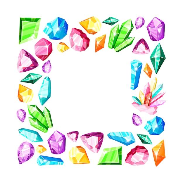 Cadre Carré: Cristaux Arc-en-ciel Colorés Ou Gemmes Bleues, Dorées, Vertes, Roses, Violettes, Isolés Sur Blanc Vecteur Premium