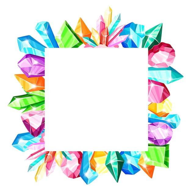 Cadre Carré: Cristaux Arc-en-ciel Colorés Ou Gemmes Bleues, Dorées, Vertes, Roses, Violettes, Isolés Sur Fond Blanc Vecteur Premium