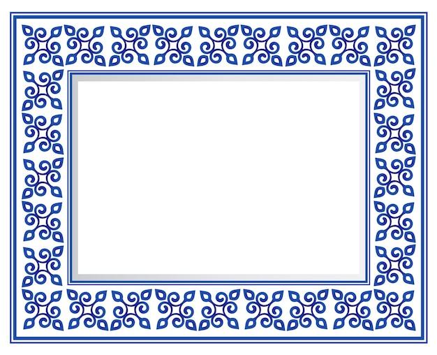 Cadre carré décoratif en céramique bleue et blanche, belle bordure en porcelaine Vecteur Premium
