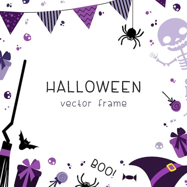 Cadre carré de décorations de fête halloween avec décoratif avec guirlandes, drapeaux, cadeaux, chapeau, balai, squelette et bonbons sur fond blanc. Vecteur Premium