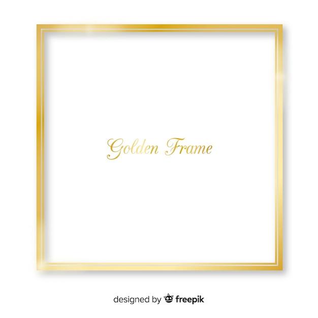 Cadre carré doré réaliste Vecteur gratuit
