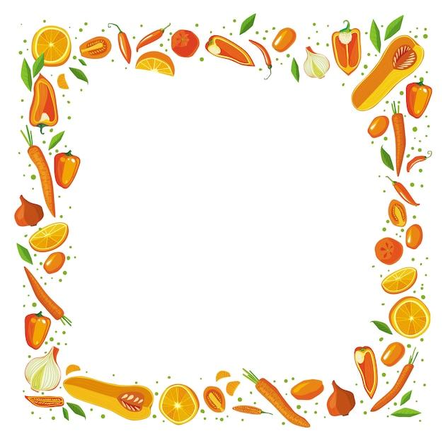 Cadre carré de fruits et légumes. concept de nourriture saine. Vecteur Premium
