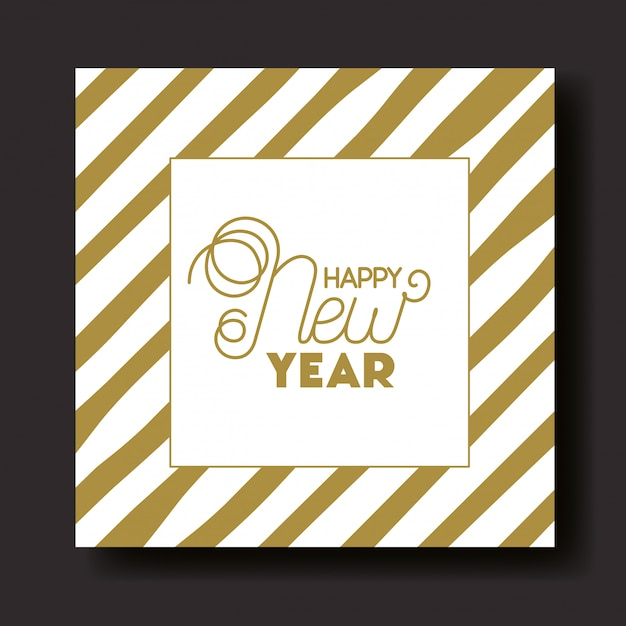 Cadre carré avec lettrage de bonne année Vecteur Premium
