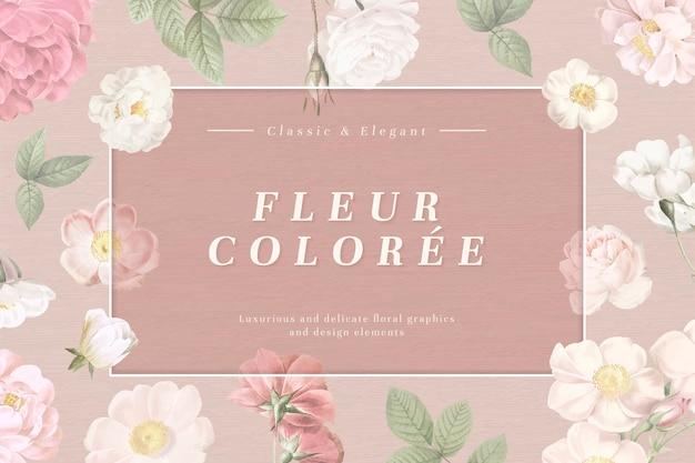 Cadre de carte dusty florals Vecteur gratuit