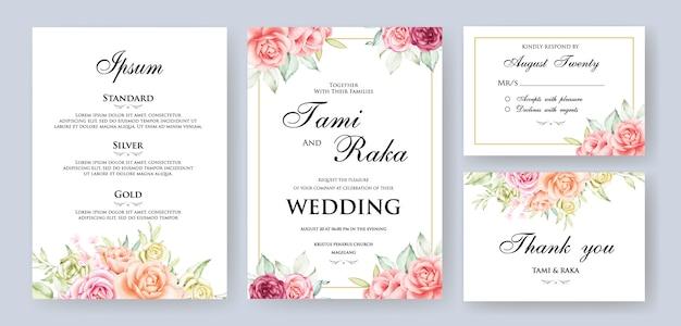 Cadre de carte floral mariage aquarelle Vecteur Premium