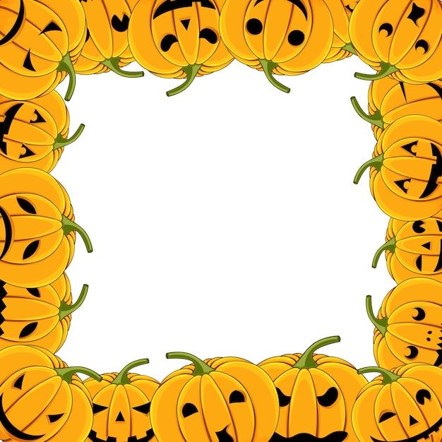 Cadre de carte halloween citrouille avec citrouilles Vecteur Premium