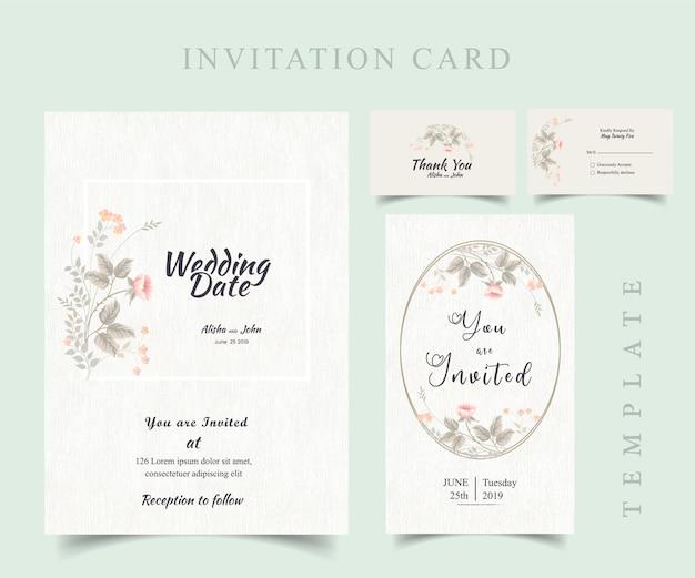 Cadre de carte d'invitation de mariage moderne floral Vecteur Premium