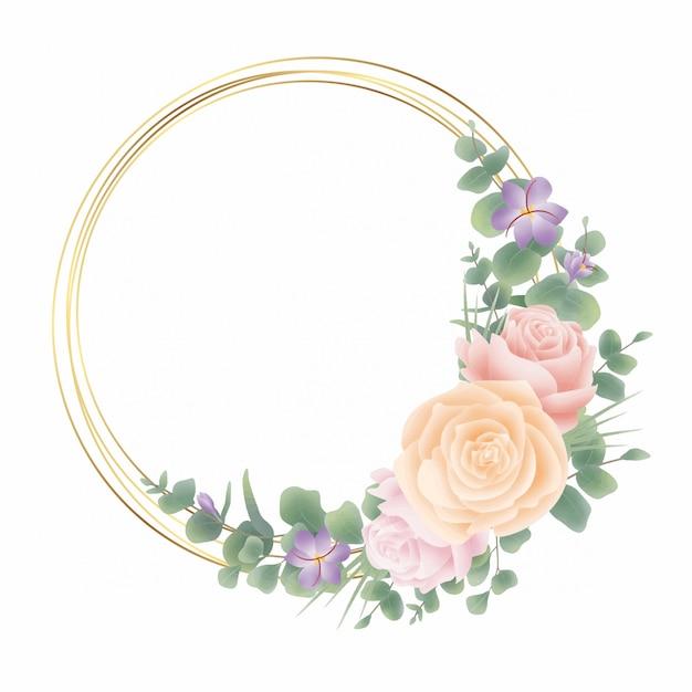 Cadre De Cercle Doré Avec Décoration Florale Et Aquarelle De Style Feuille D'eucalyptus Vecteur Premium