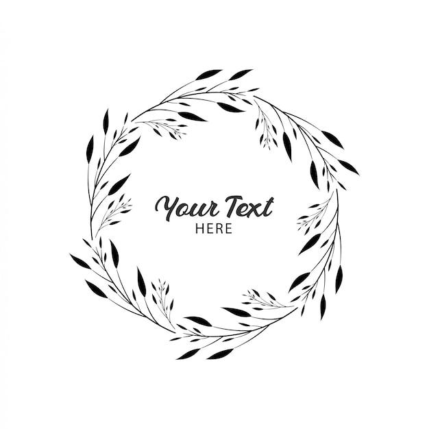Cadre de cercle floral couronne de mariage simple Vecteur Premium