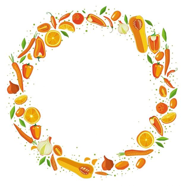 Cadre de cercle de fruits et légumes. concept de nourriture saine. Vecteur Premium