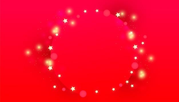 Cadre de cercle de noël avec des lumières de décor de paillettes, des étoiles d'or brillantes Vecteur Premium
