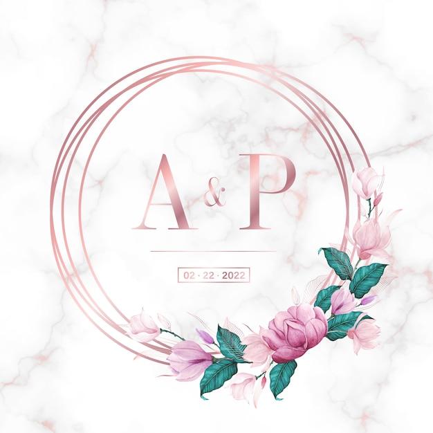 Cadre Cercle En Or Rose Avec Floral Sur Fond De Marbre Pour Logo Monogramme De Mariage Et Carte D'invitation Vecteur gratuit