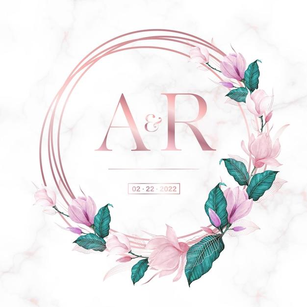 Cadre De Cercle En Or Rose Avec Floral Sur Fond De Marbre Pour Logo Monogramme De Mariage Et Carte D'invitation Vecteur gratuit