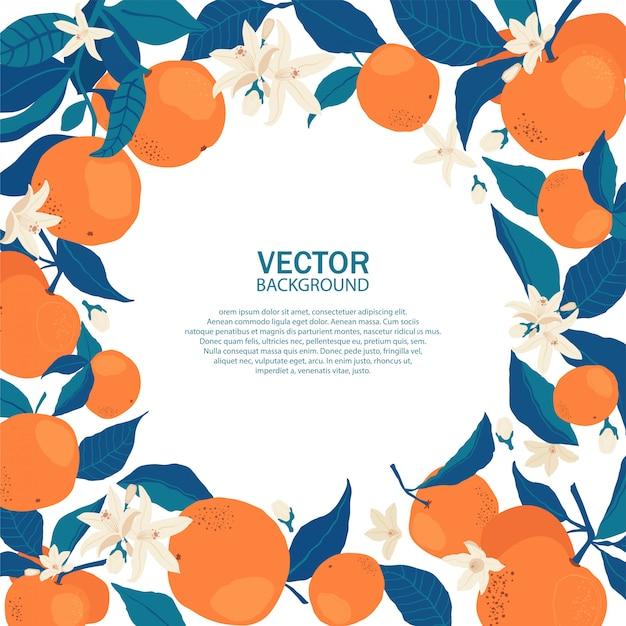 Cadre Cercle D'oranges Sur Les Branches Avec Espace Copie Dans Un Style Plat. Vecteur Premium