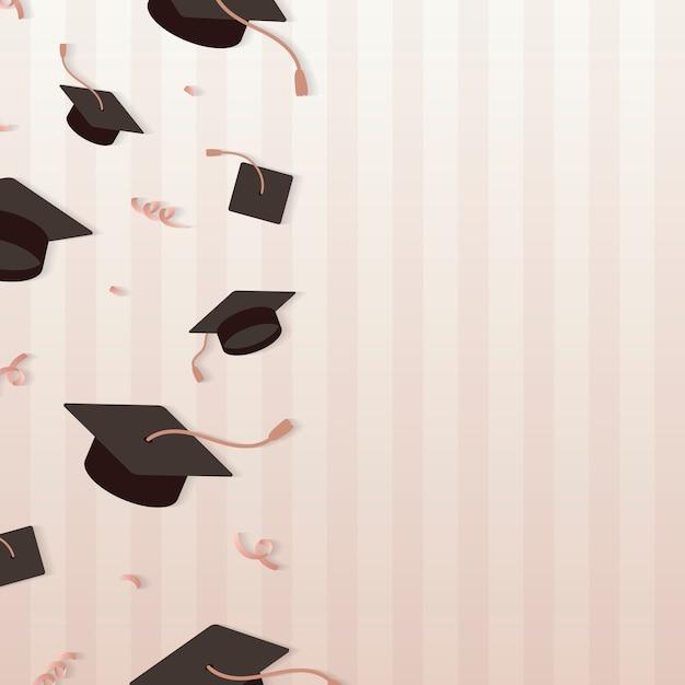 Cadre de chapeaux de graduation Vecteur gratuit