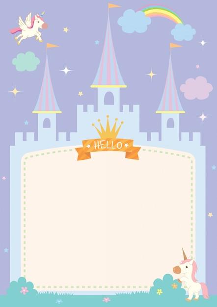 Cadre de château avec licorne couleur pastel Vecteur Premium
