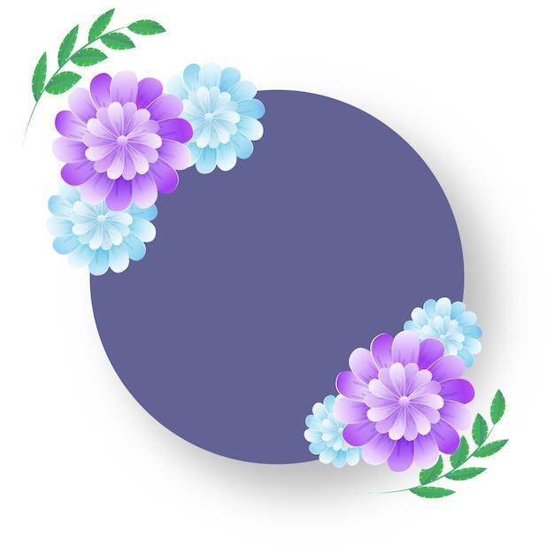 Cadre Circulaire Vide Avec Des Fleurs Brillantes Et Des Feuilles Vertes Sur Fond Blanc. Vecteur Premium