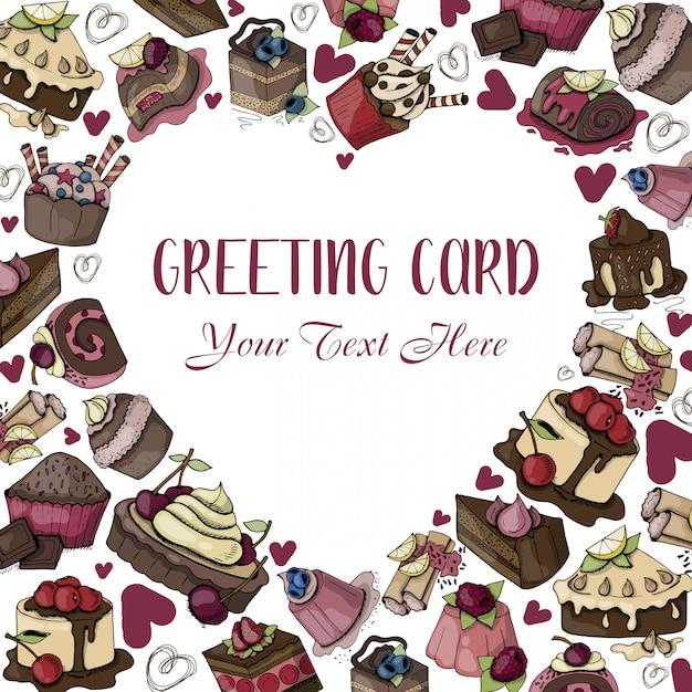 Cadre de coeur de bonbons, des desserts, des gâteaux, avec texte Vecteur Premium