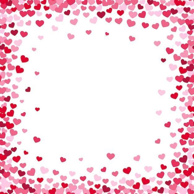 Cadre de coeur charmant avec des coeurs de confettis Vecteur Premium