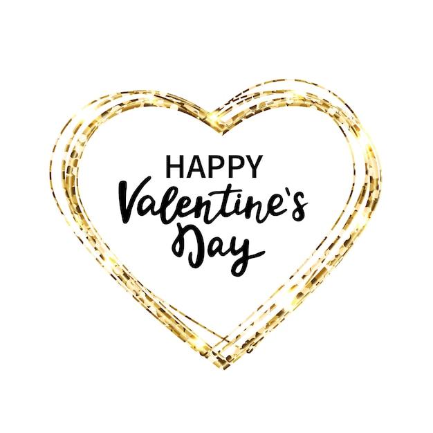 Cadre Coeur Pailleté. Joyeux Saint Valentin Lettrage à La Main. Coeur Et Texte De Paillettes D'or. Vecteur Premium