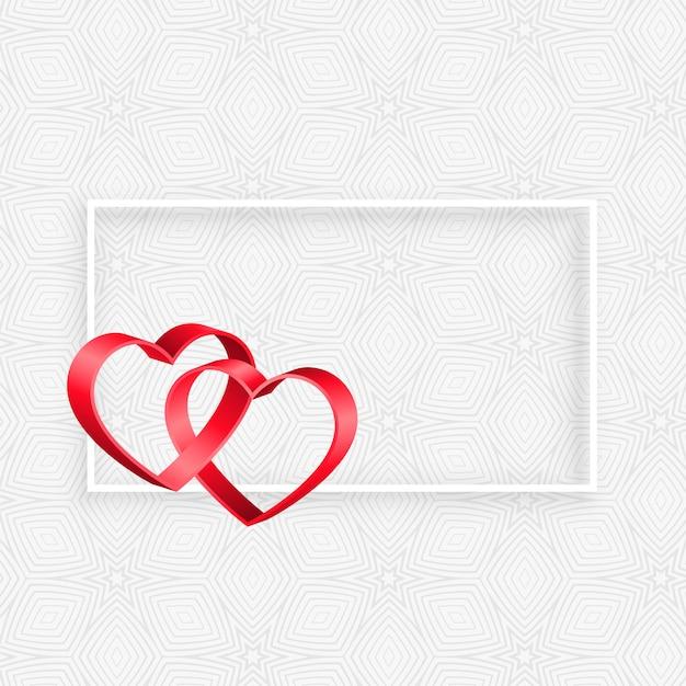 Cadre coeurs ruban 3d avec espace de texte Vecteur gratuit