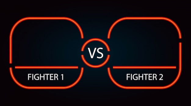 Cadre de combat rouge contre néon Vecteur Premium