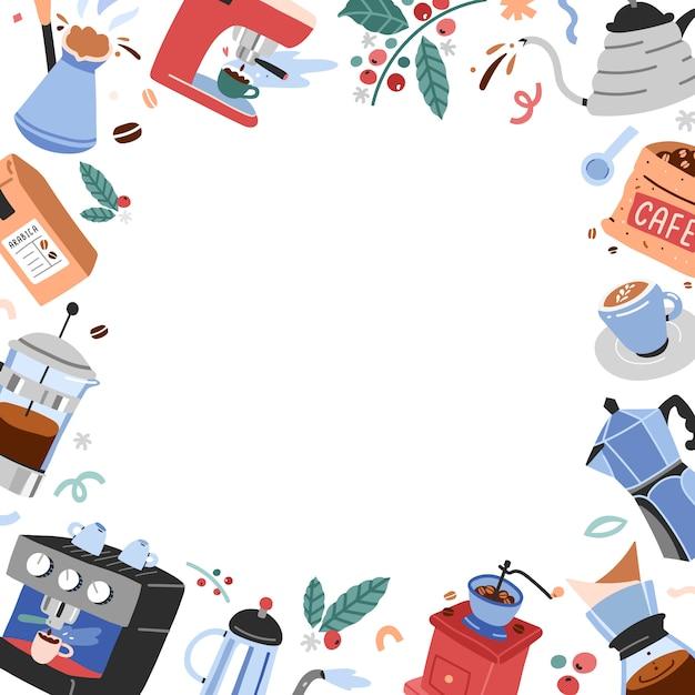 Cadre Avec Copyspace Et Illustrations De Café Vecteur Premium