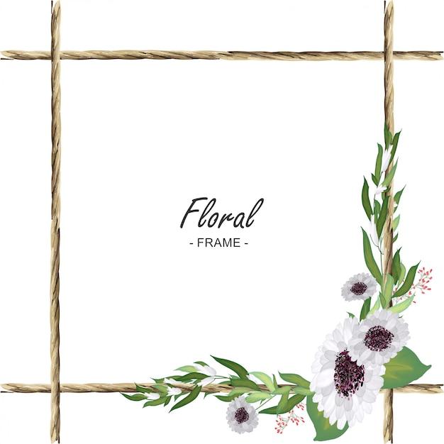 Cadre de corde florale Vecteur Premium