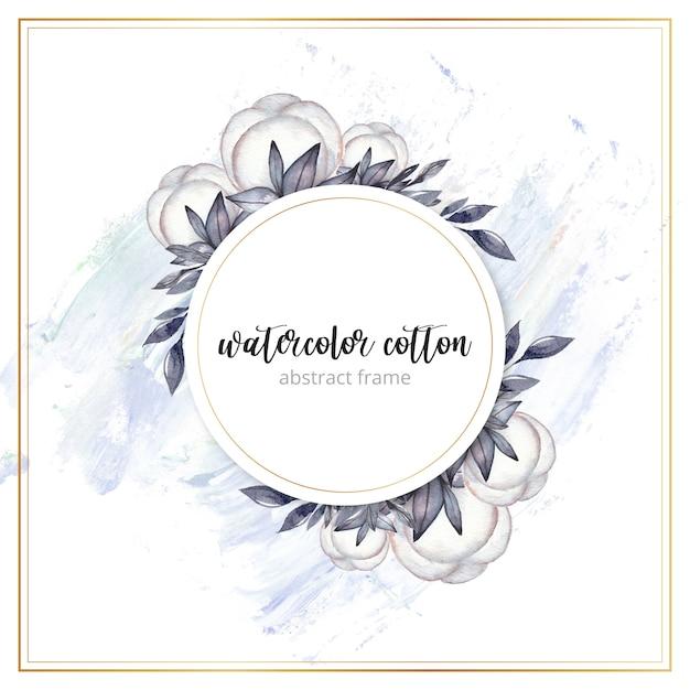 Cadre Coton Aquarelle Vecteur Premium