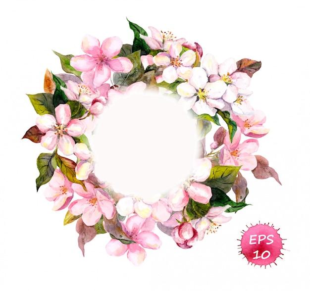 Cadre de couronne avec cerise, pomme, fleurs d'amande, sakura. Vecteur Premium