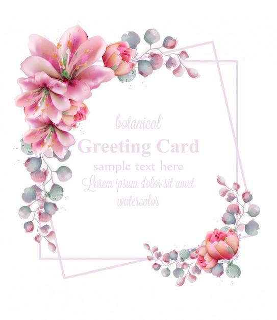Cadre de couronne de fleurs d'aquarelle lily Vecteur Premium