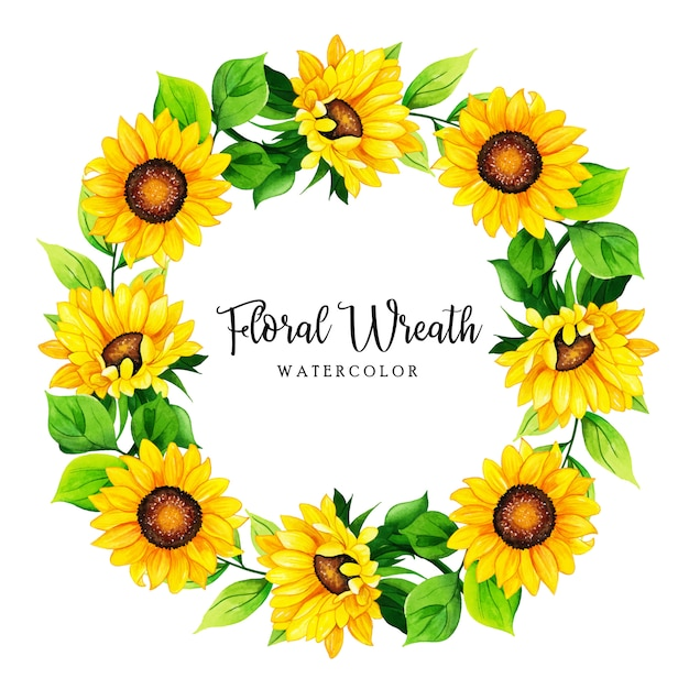 Cadre de couronne florale aquarelle Vecteur Premium