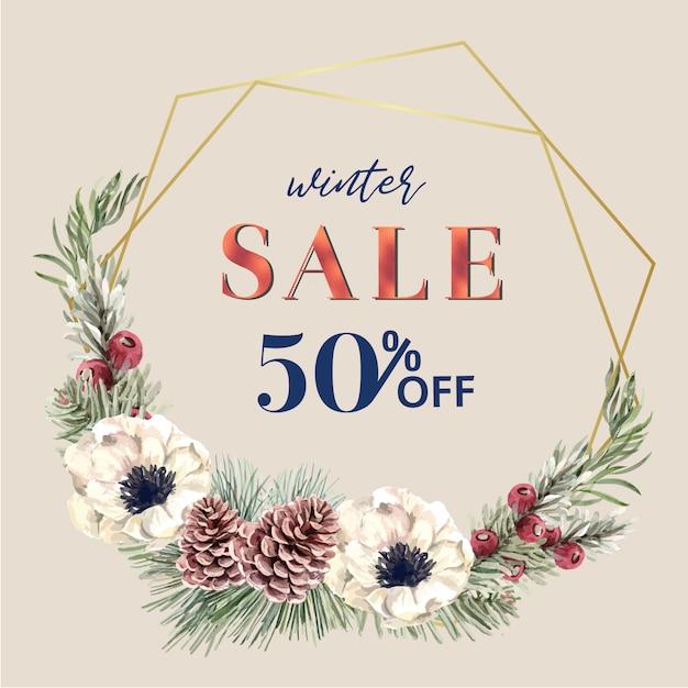 Cadre de couronne florale en fleurs d'hiver élégant pour une décoration vintage magnifique Vecteur gratuit