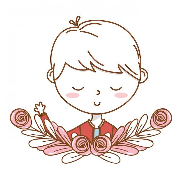 Cadre de couronne florale pour le dessin animé garçon tenue costume portrait Vecteur Premium