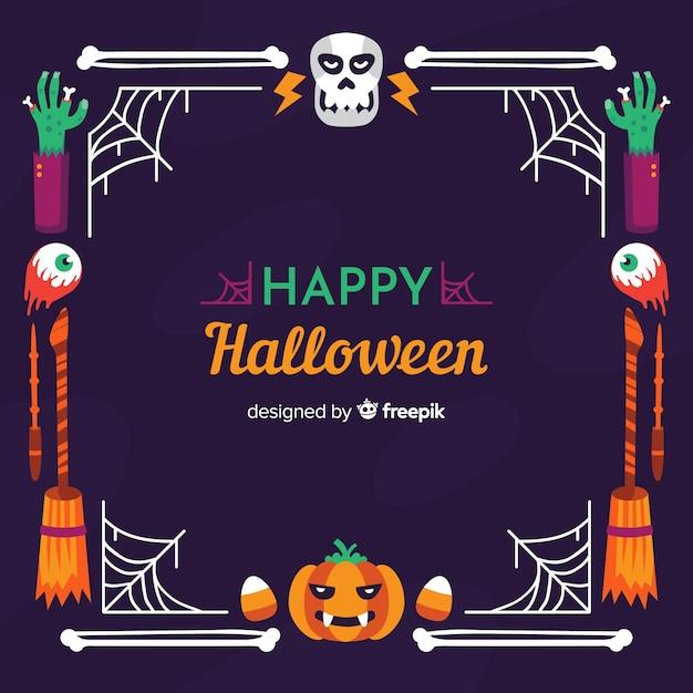 Cadre De Crâne Et Citrouille Halloween Heureux Vecteur gratuit