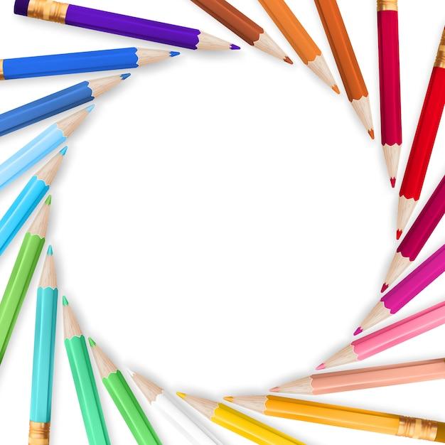 Cadre Avec Des Crayons De Couleur. Vecteur Premium