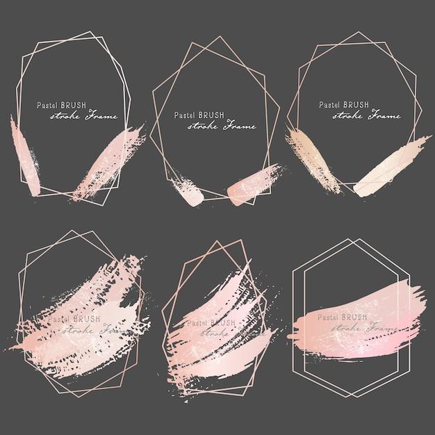 Cadre de traits de pinceau pastel Vecteur Premium