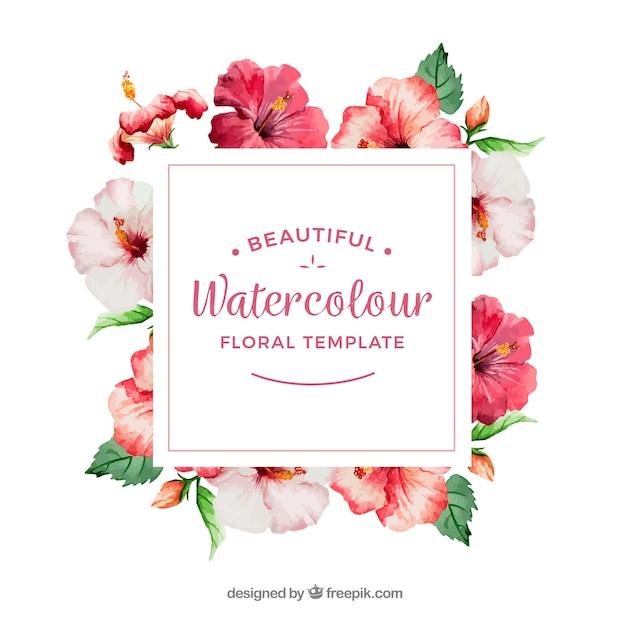 Cadre décoratif avec des fleurs d'aquarelle Vecteur gratuit