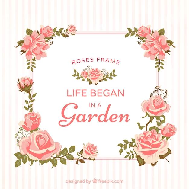 Cadre décoratif de roses Vecteur gratuit