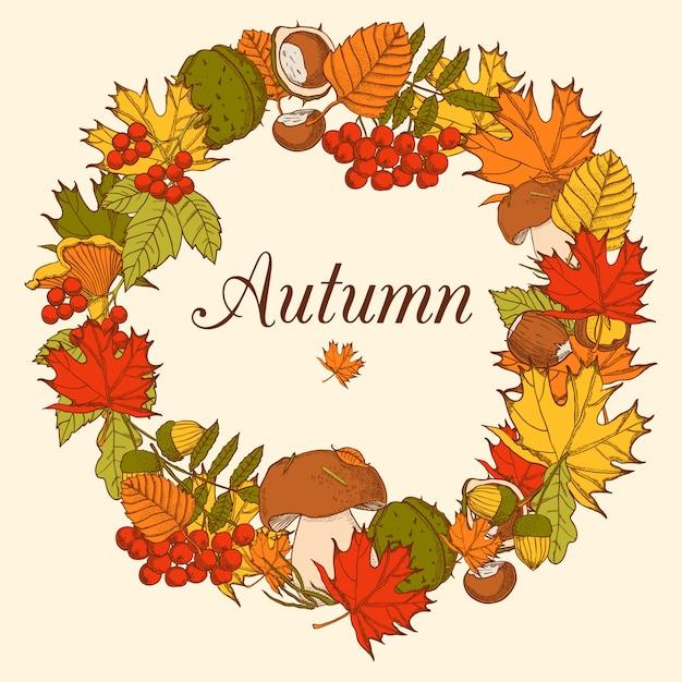 Cadre décoratif en forme d'ornement comprenant des éléments d'arbres forestiers d'automne Vecteur gratuit