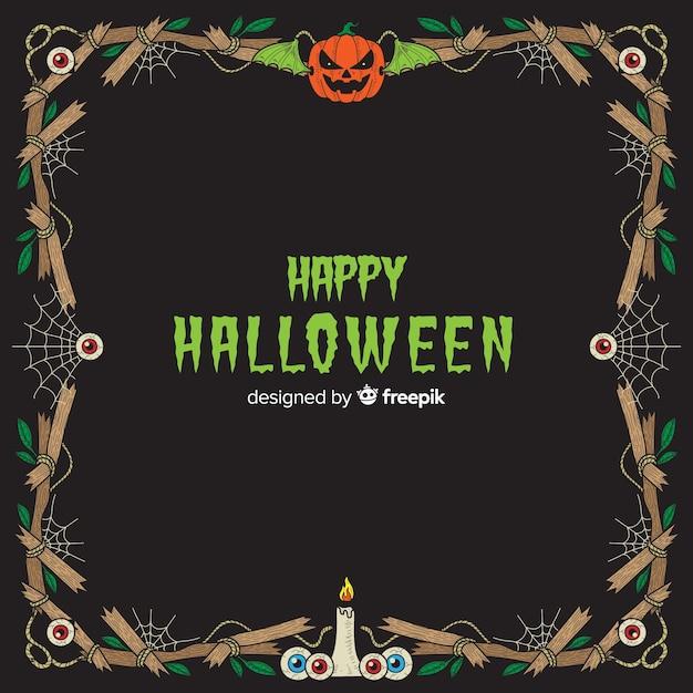 Cadre décoratif d'halloween dessiné à la main Vecteur gratuit