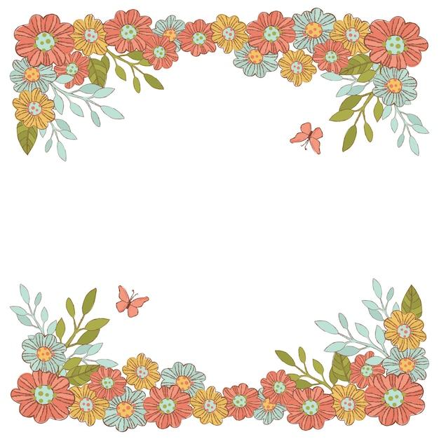 Cadre Décoratif Summer Flowers Vecteur Premium