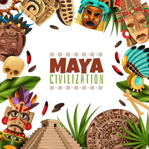 Cadre De Dessin Animé De Civilisation Maya Vecteur gratuit